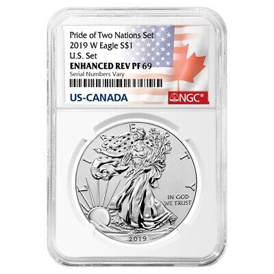 2019 W 1 oz Reverse Proof Silver Eagle NGC PF 69 Pride of Two Nations-Two Flags