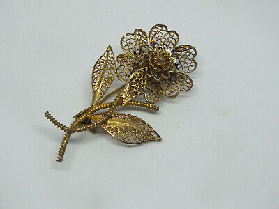 "Beautiful Brooch Pin Gold Tone Flower Filigree 2 x 1 1/4"" Unique Vintage"