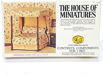 1//12 CHIPPENDALE CANOPY BED KIT #40014 HOUSE OF MINIATURES NEW FACTORY SEALED