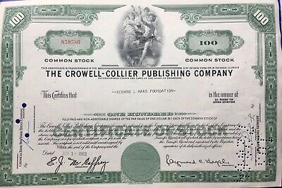The Crowell Collier Publishing Company Newyork Chicago Bank Bond -1963