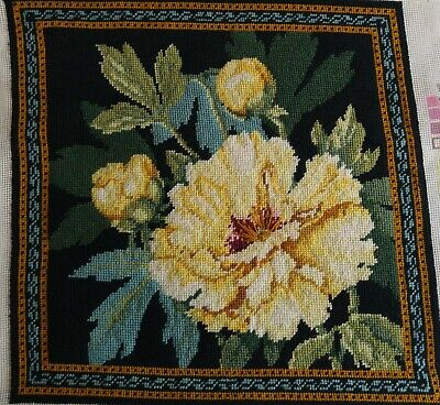"Finished Needlepoint Bucilla Canvas SOFT YELLOW PEONY Flowers Pillow 4651 14"" Sq"