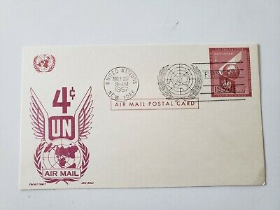 Canada  1954   United Nation    U.n.  Airmail First Day Issue Post Card