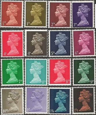 Great Britain 1967 MACHIN DEFINITIVES (16) SG 723-744 Unhinged Mint