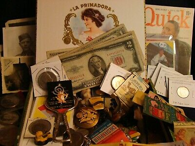JUNK DRAWER ESTATE COINS Tobacciana Baseball Cards Knife Stamps Jewelry Military