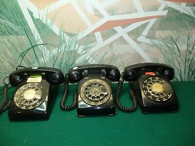 LOT OF 3 VINTAGE ROTARY DIAL TELEPHONES -  3 x Western Electric - Bell Sys BLACK
