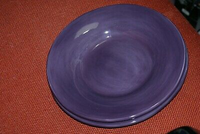 "Pottery Barn Sausalito Fig Purple 10"" Rimmed Soup Pasta Bowl Lot of 3"