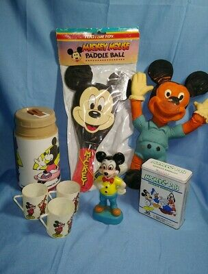 Vintage Walt Disney World Mickey Mouse Collectible Lot Toys Thermos Band Aid