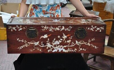 China Huanghuali wood Inlay shell Plum flower Magpie Jewelry Box storage Boxes