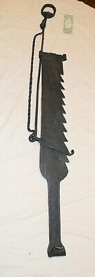 HUGE antique 1800's wrought iron sawtooth hearth adjustable trammel fireplace