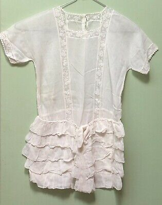 Gorgeous Antique Edwardian Childs Childrens  Swiss Voile And Lace  Dress