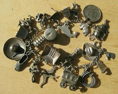 Vintage Sterling Silver 1950's Mexico, Old West Charm Bracelet and 24 Charms