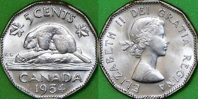 1955 Canada Nickel Graded as Brilliant Uncirculated From Original Roll