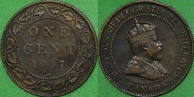 1907 Canada (H Mark) Large Penny Graded as Fine
