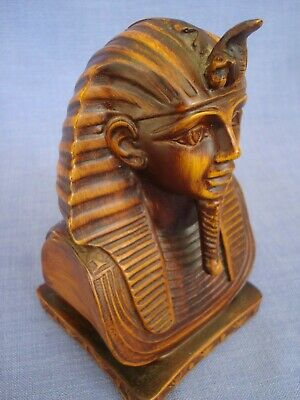 Hand Carved Wooden Egyptian Head - Ancient Pharaoh Bust Statue - King Tut 16cms