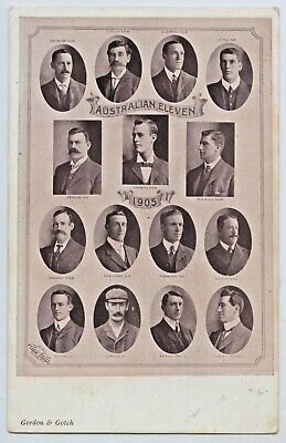 1905 Pt Npu Postcard Australian 11 Test Cricketers Trumper Darling Hill C70