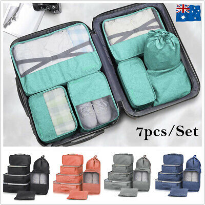 Set Travel Storage Bags Clothes Organizer Packing Cubes Pouches Luggage Suitcase