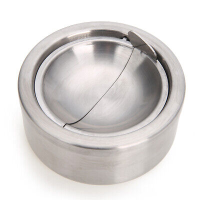 12cm Stainless Steel Cigarette Lidded Ashtray Windproof Smoking Holder with Lid