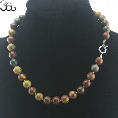 """Natural 10mm Round Gemstone Beads Knot Strand Jewelry Necklace 17.5"""""""