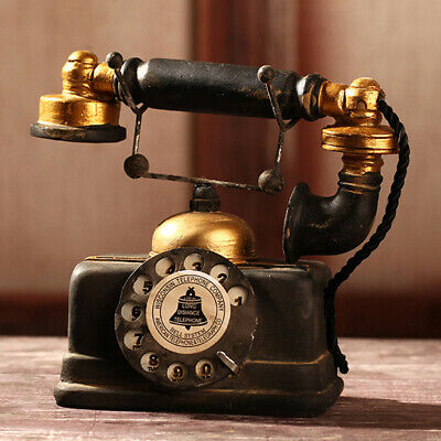 Vintage Rotary Telephone Statue Antique Shabby Old Phone Figurine Home Decor US