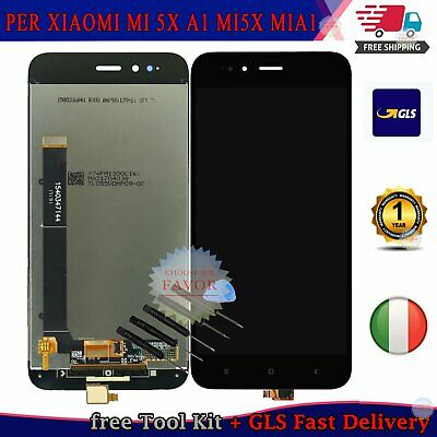 TOUCH SCREEN VETRO + LCD DISPLAY Per XIAOMI MI 5X A1 MI5X MIA1 NERO ASSEMBLATI