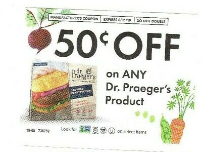 (9) DR. PRAEGER'S .50 off ANY PURELY SENSIBLE FOODS Product COUPONS X- 8.31.19