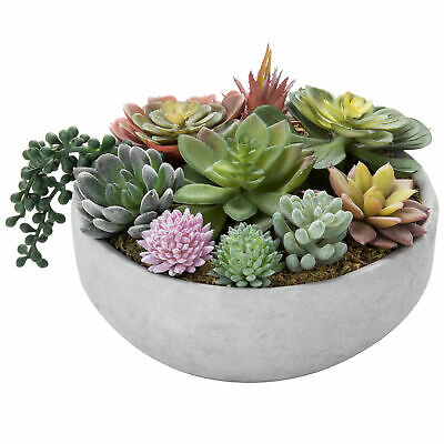 MyGift 8-Inch Artificial Succulent Plant Arrangement in Concrete Pot