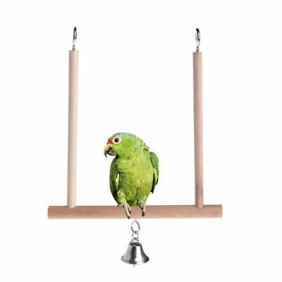 Traditional Budgie Parrot Bird Swing Wooden Perch With Metal Hooks & Bell