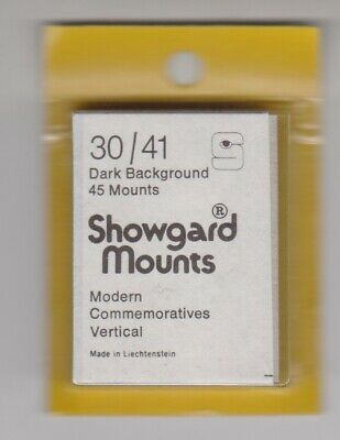 SHOWGARD Black Stamp Mount Cut to Size 30mm x 41mm FULL PACK 45 MOUNTS