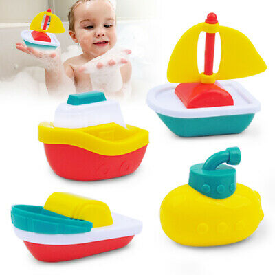 4 Pack Baby Toys Floating Plastic Boats Kids Infant Bath Tub Play Set Fun Time