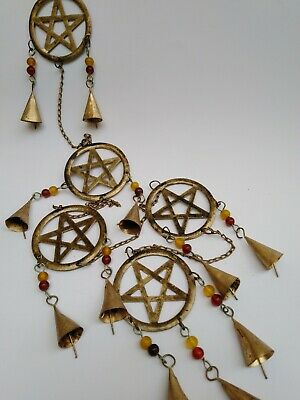 String of Pentacles garden or house wind chime pagan home decor ethnic wiccan