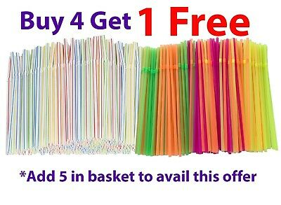 200 x Neon Flexible Straws Bendy Assorted Coloured Birthday Party Drinking .