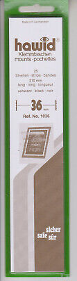Hawid Black Stamp Mount Strips 36mm x 210mm Part pack of 15/25 Mounts