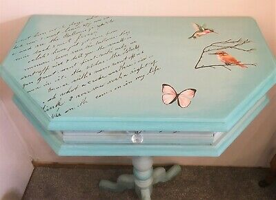 Half Moon Shaped Wall Console Table with Drawer – Shabby Chic - Hand Painted