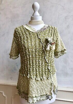 TEL TELLE French Green Woven Funky Lace Boho Hippy Unusual Blouse Top Large 16