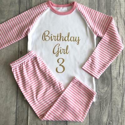 PERSONALISED BIRTHDAY GIRL PYJAMAS Pink White Striped PJs Gold Birthday Girl Age