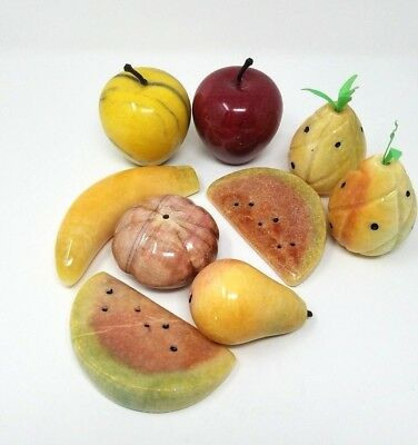 9 Fruit Alabaster Stone Vintage Italian Marble Lot Apple Banana Watermelon Pear