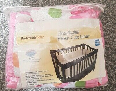Pink Spotty Tie & Velcro Breathable Mesh Cot Bumper Liner