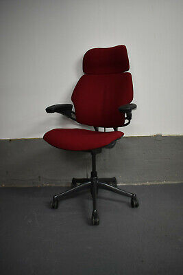Humanscale Freedom Ergonomic Office Swivel Chair W/Headrest - Red/Graphite