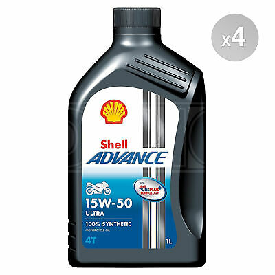 Shell Advance Ultra 4T 15W-50 15W50 Fully Synthetic Motorcycle Oil - 4 Litres