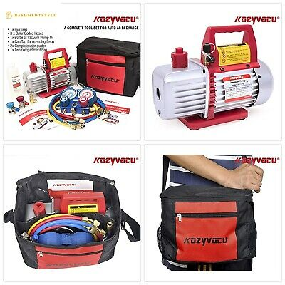 Kozyvacu AUTO AC Repair Complete Tool Kit with 1-Stage 3.5 CFM Vacuum Pump, Mani
