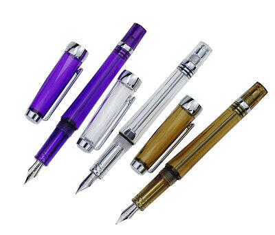 Wing Sung 3013 Vacuum Filling Fountain Pen Transparent Body Writing Set - EF Nib
