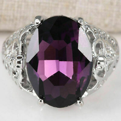 Woman Huge Natural 6Ct Alexandrite Ring 925 Silver Wedding Engagement Size6-10