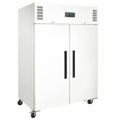 Commercial Polar 2 Door Upright Freezer 1200Ltr White Hinged Tropical 700W