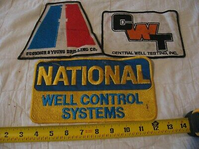 3 Different Vintage Oil Well Type Large Patches