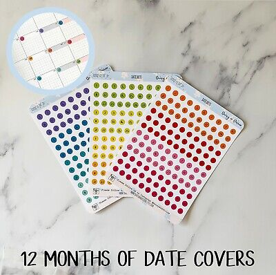 Date Covers Planner Stickers, Calendar Date Dots for Planner Diary Agenda Bujo