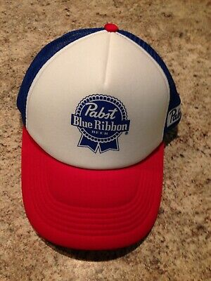 Pabst Blue Ribbon Beer PBR Trucker Hat Blue Red White Snapback Cap Mesh