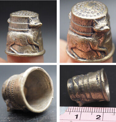 Wonderful Rare Medieval Silver Sewing Ring With Wonderful Animal Around  #SA79