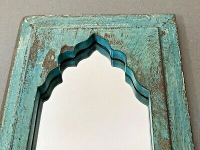 Vintage Indian Furniture. Mughal Arched Temple Mirror. Pale Turquoise.