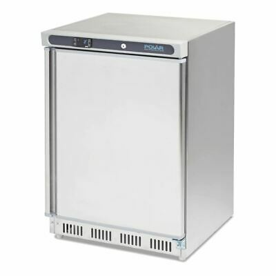 Polar Commercial Undercounter Fridge 150Ltr Stainless Steel Hinged 120W 1A