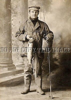 Antique Repro 8X10 Photo Print Man Trout Fly Fishing Rod Reel Creel
